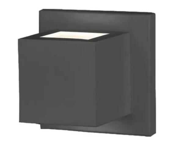 Arandela Quadrada Alumínio Preto Externo 958 Para Lâmpada G9