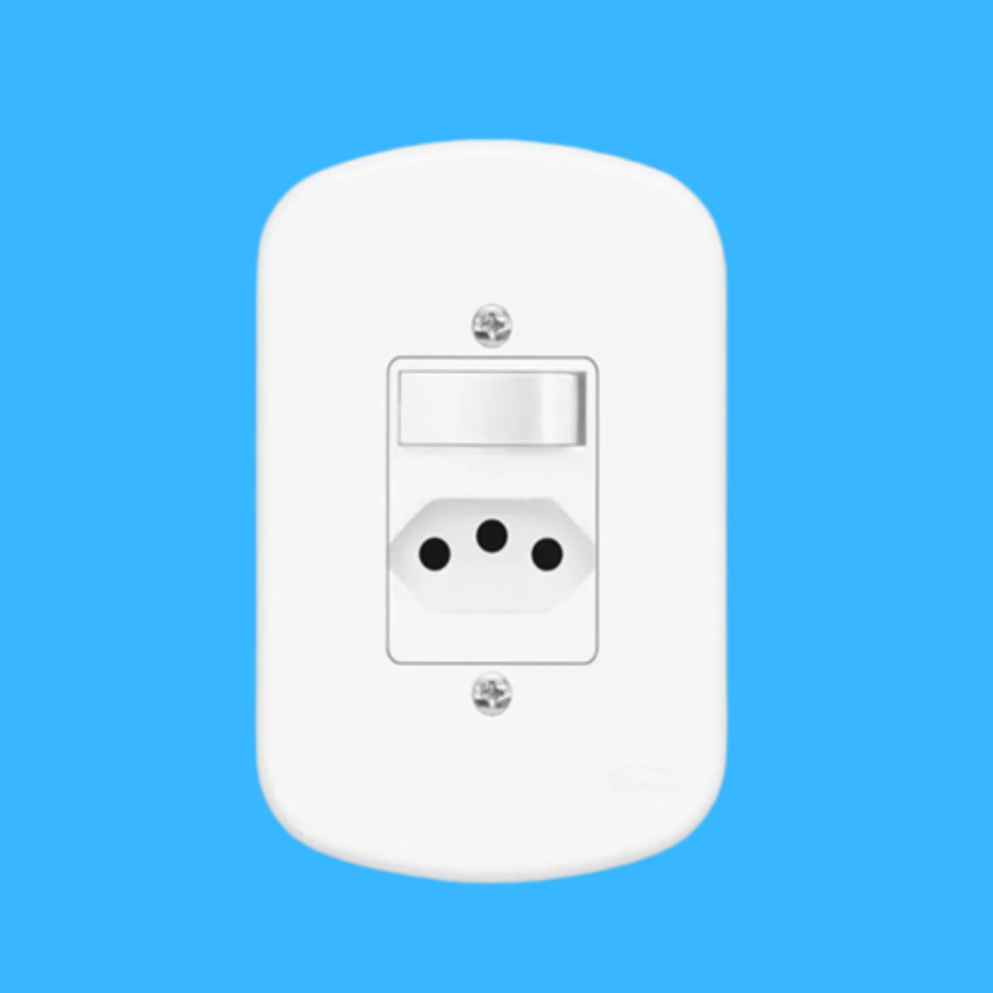Blanc 1Seção Interruptor Simples + 1Seção Tomada 10A C Placa