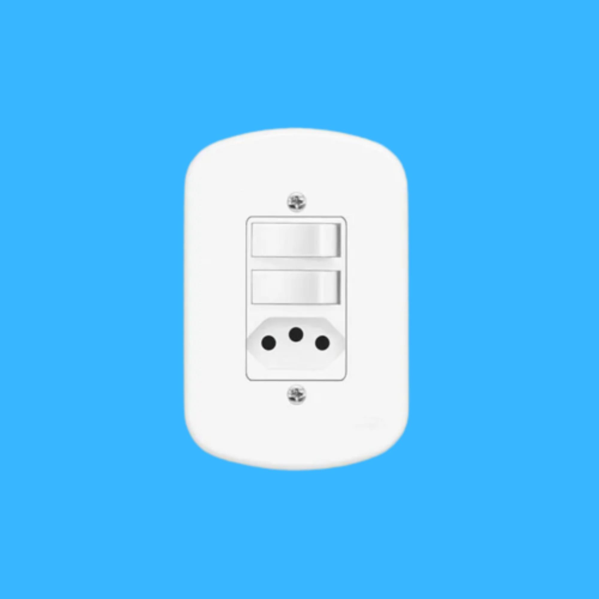 Blanc 2Seções Interruptor Simples+ 1Seção Tomada 10A C Placa
