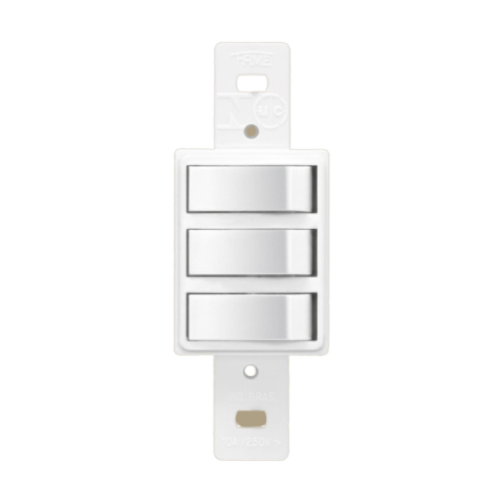Blanc 3 Seções de Interruptor Simples Sem Placa