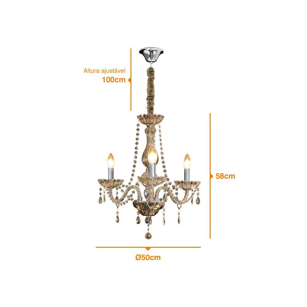Bronzearte Lustre Classic Âmbar de 3 Lâmpadas Com Bocal E-14