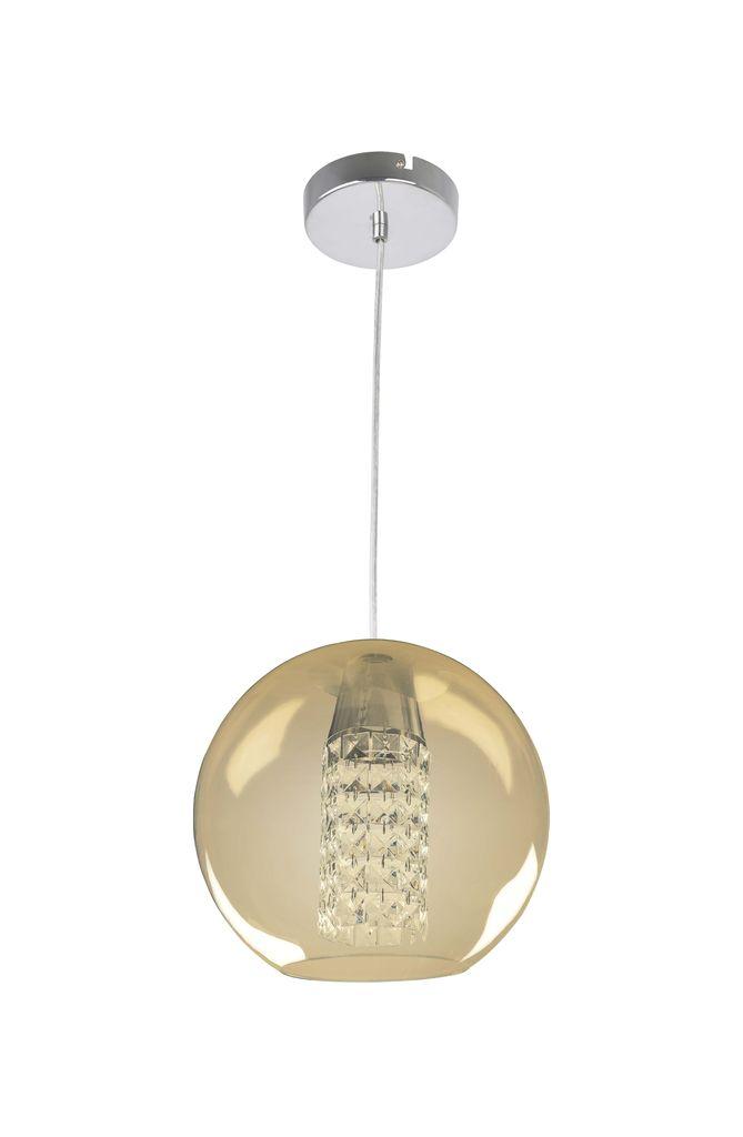 Bronzearte Pendente Globe Acrílico Âmbar Com Pingente 30cm