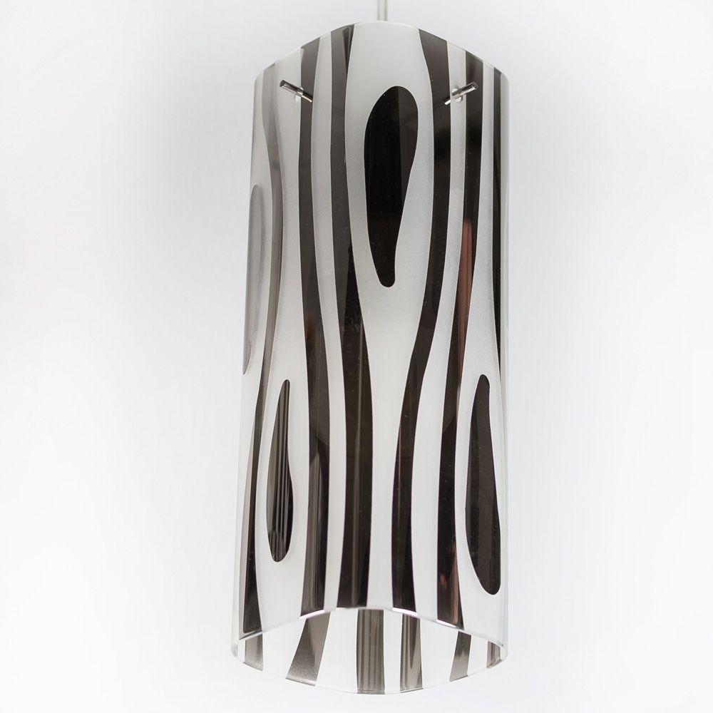 Bronzearte Pendente Mirage Zebrado Cromo de 1 Lâmpada