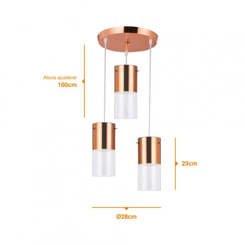 Bronzearte Pendente First Cobre e Transparente 3 Lamp E-27