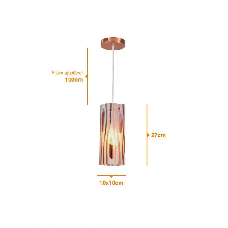 Bronzearte Pendente Mirage Zebrado Cobre 10x10cm 1 Lamp E-27