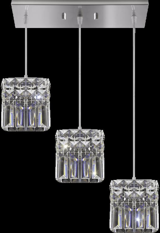 Bronzearte Pendente Quadrado Paris Cristal 12x42cm 3 Lamp G9