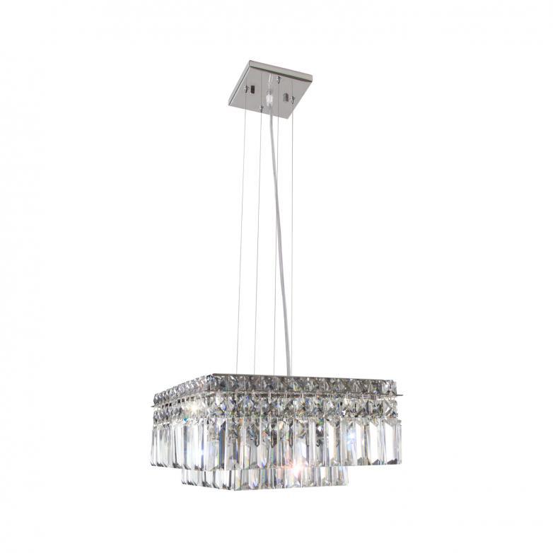 Bronzearte Pendente Quadrado Paris Cristal 40x40 10 Lamp G9