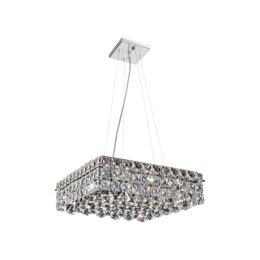 Bronzearte Pendente Quadrado Piao Cristal 30x30cm 6 Lamp G9