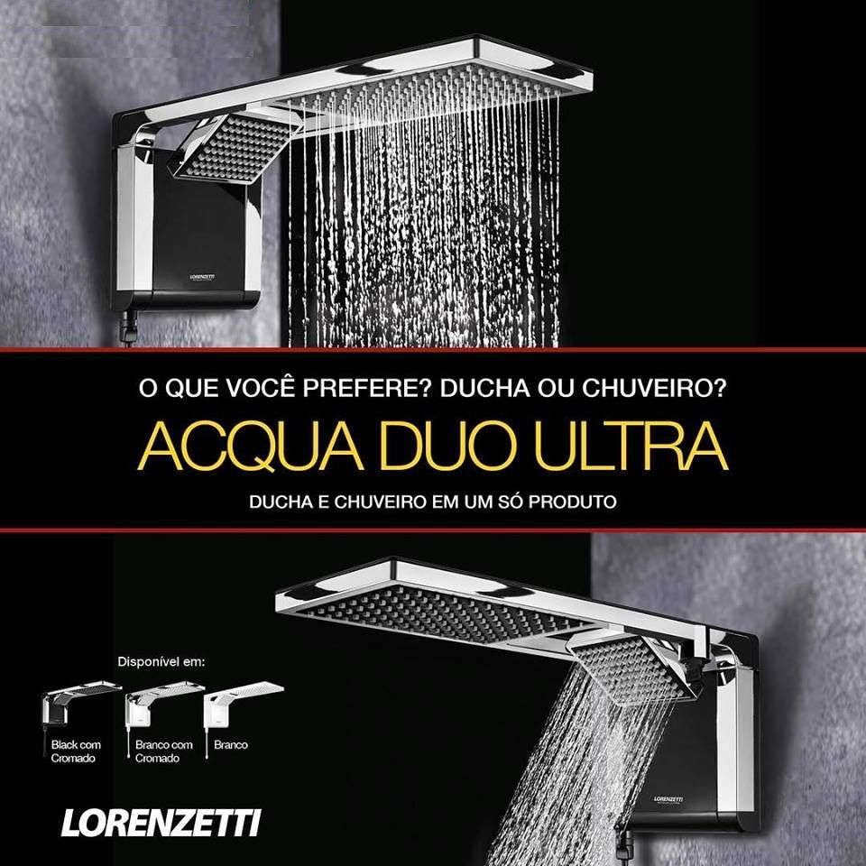 Chuveiro Acqua Duo Ultra Preto Cromado 6800w 220v Lorenzetti