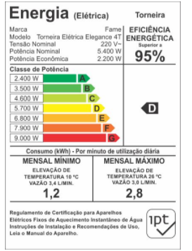 Fame Torneira Elétrica Bancada 4T Elegance Branca 5400wX220v