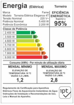 Fame Torneira Elétrica Bancada 4T Elegance Preta 5400w X220v