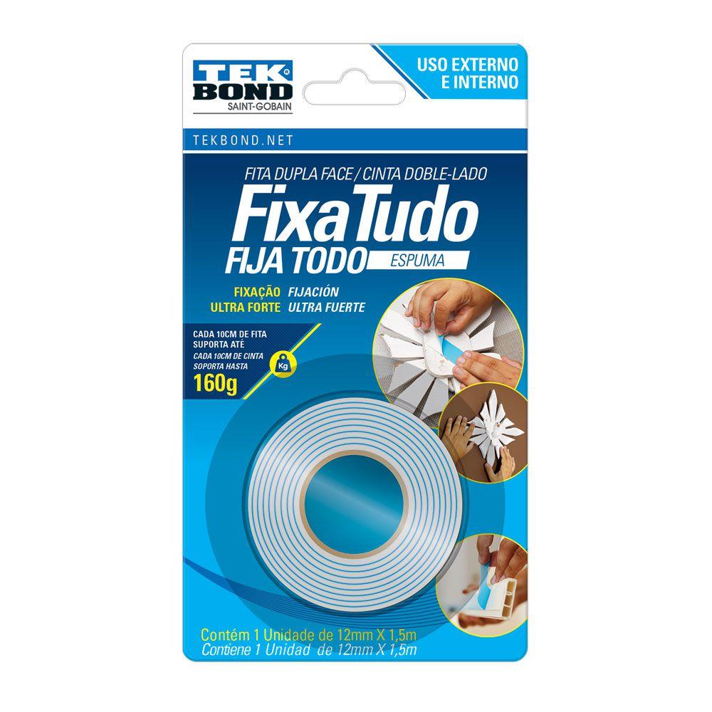 Fita Dupla Face Espuma 12mm 1,5mts Tekbond (Azul)