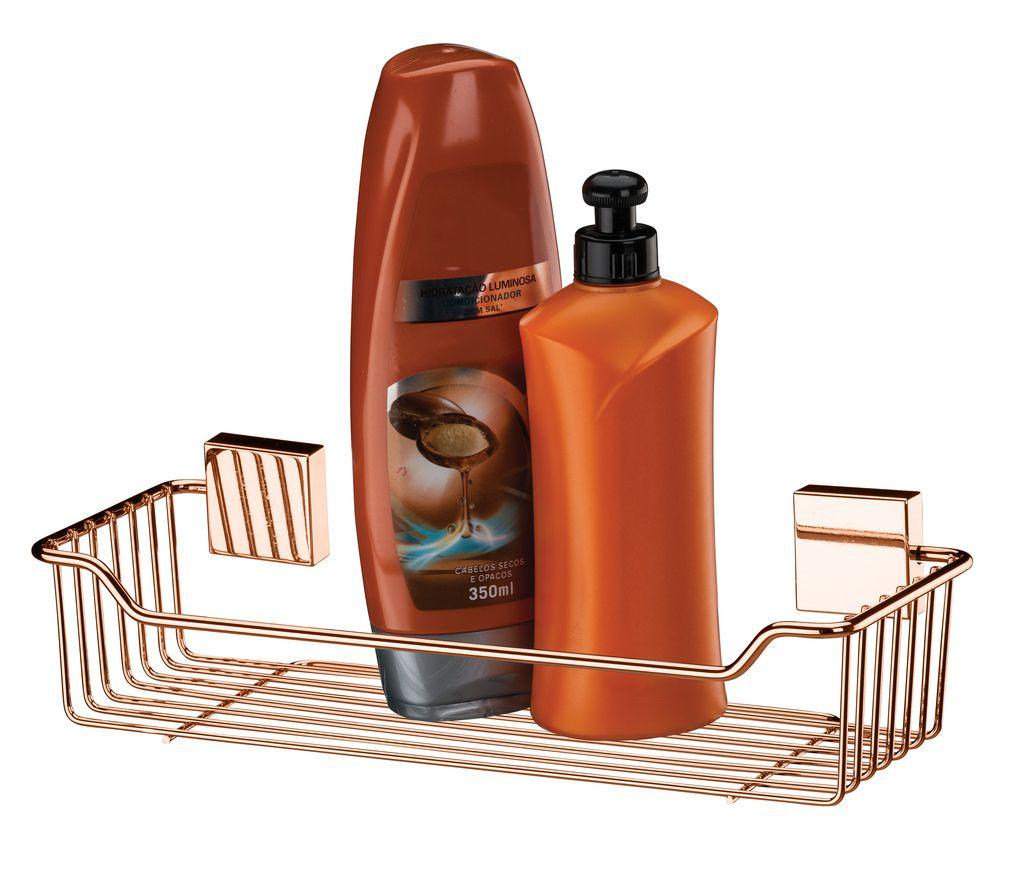 Future Suporte de Shampoo Rosé Gold Aço Carbono Kit Fixação
