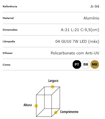 Ideal Arandela Branca Alumínio Articulada 4 X GU10 A-94