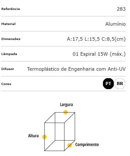 Ideal Arandela Branca em Alumínio Triangular 283 1 x E-27