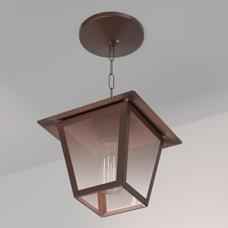 Ideal Pendente Marrom Aço Fosfatizado Vidro Espelhado L-4-C