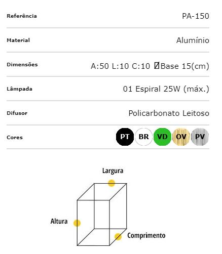 Ideal Poste de Alumínio 50cm Preto Quadrado 1 X E-27 PA-150