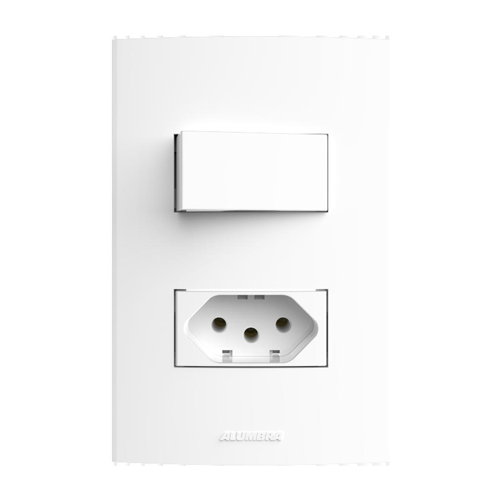 InovaPró 1Seção Interruptor Simples+ 1Seção Tomada 10A+Placa