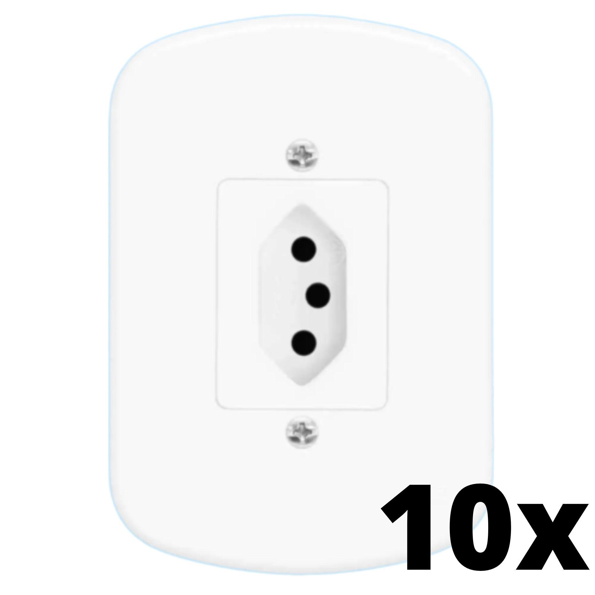 Kit 10 und Blanc 1 Seção de Tomada 10A Com Placa