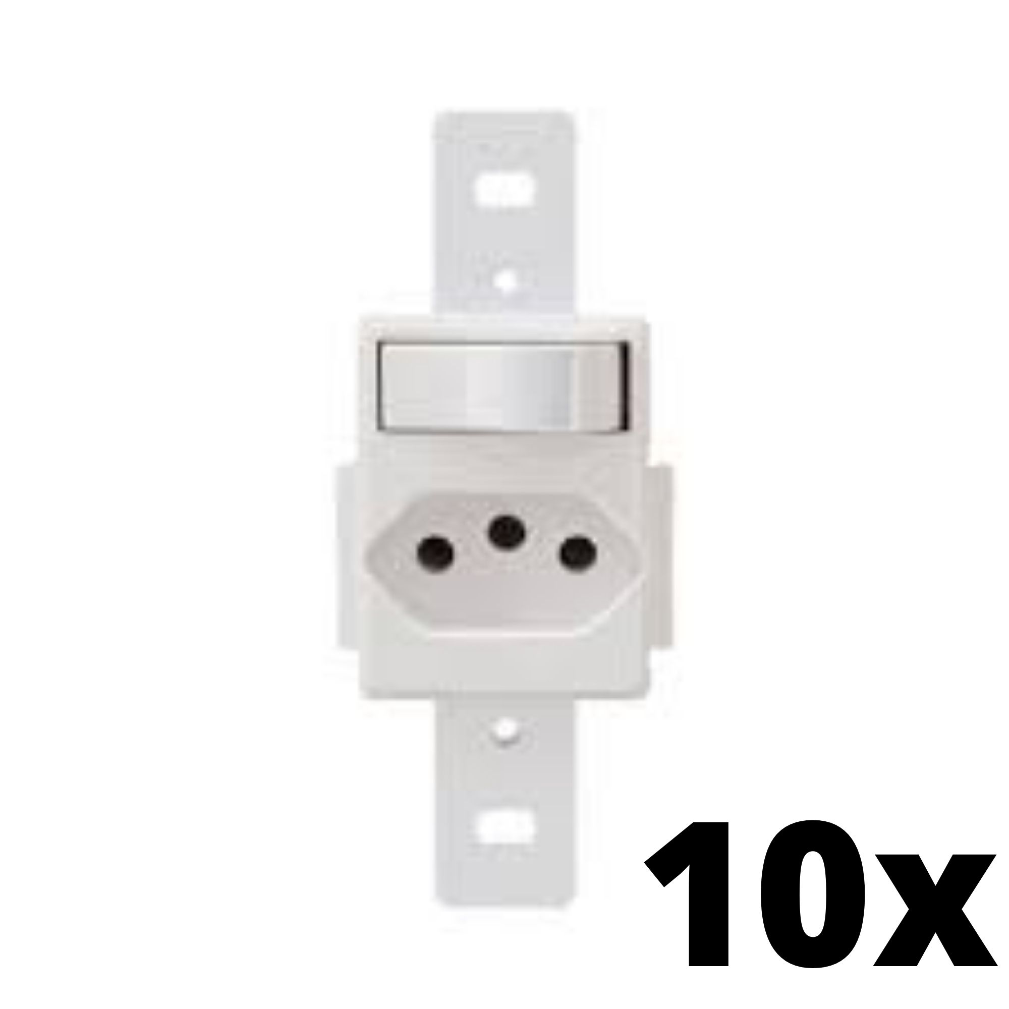 Kit 10 und Blanc 1Seção Interruptor Simples+1Seção Tomada 10A Sem Placa