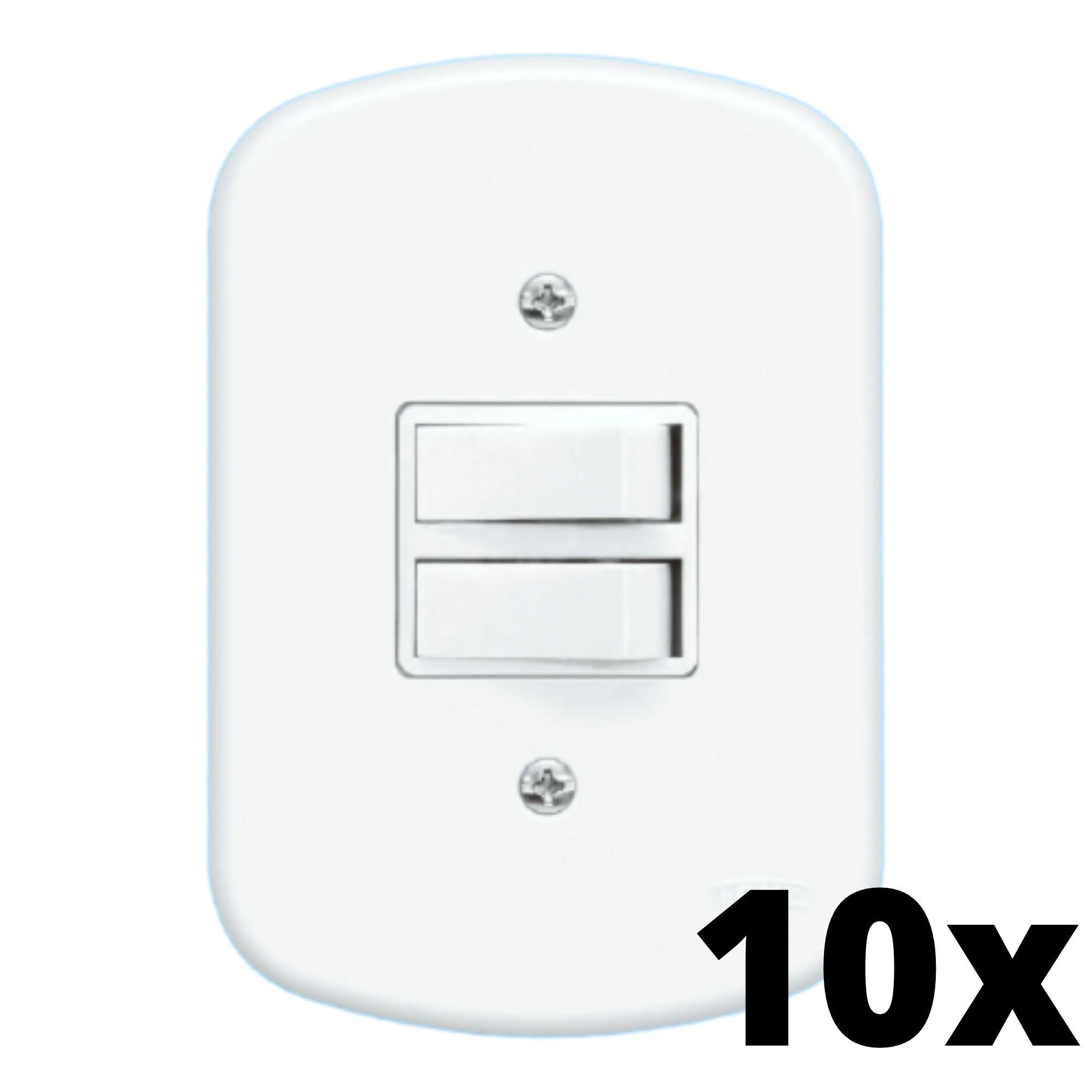 Kit 10 und Blanc 2 Seções de Interruptor Paralelo Com Placa