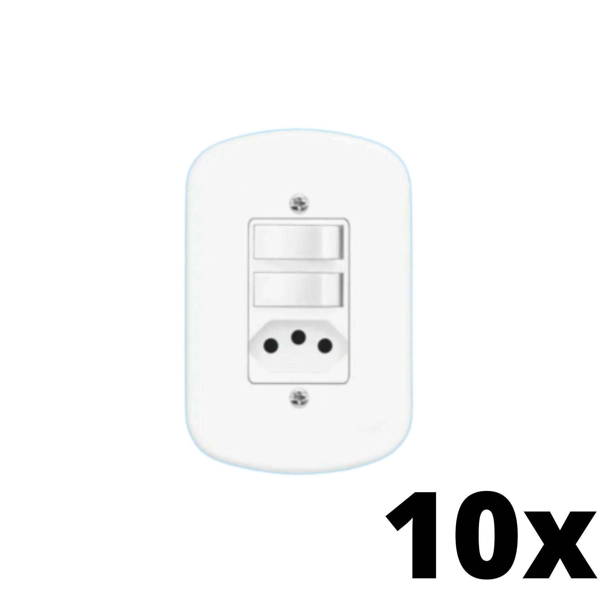 Kit 10 und Blanc 2Seções Interruptor Simples+ 1Seção Tomada 10A C Placa
