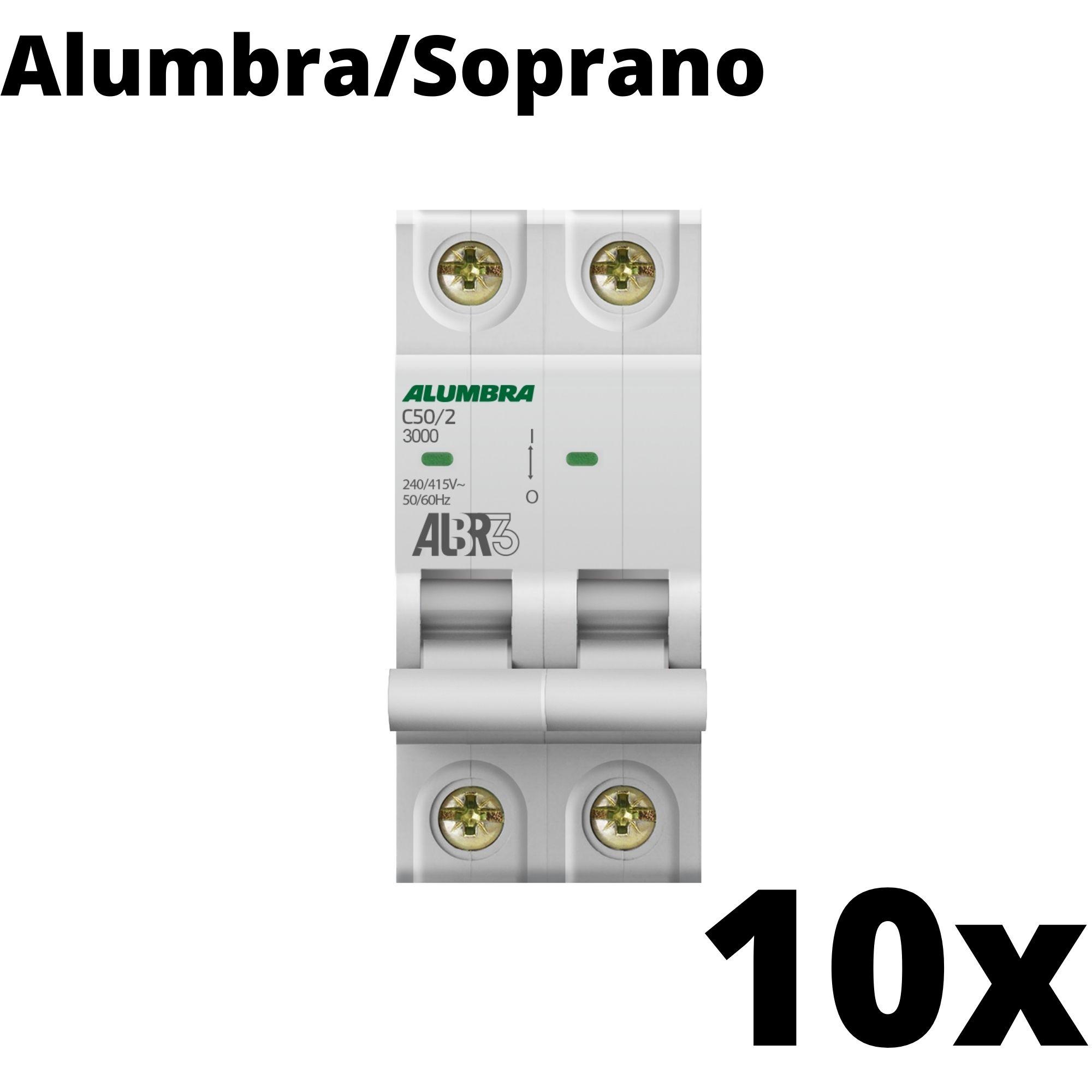 Kit 10 und Disjuntor Din Bipolar 50A