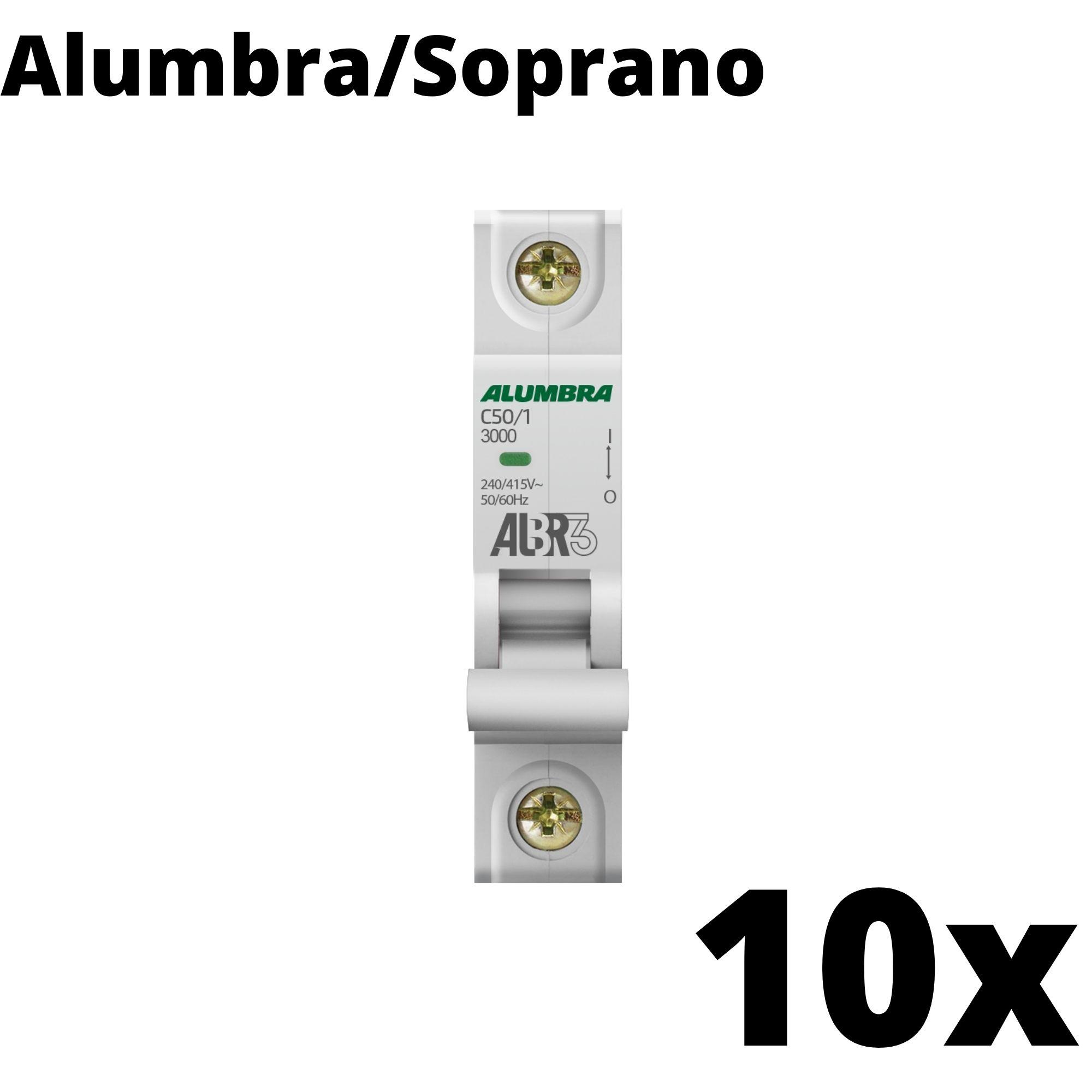Kit 10 und Disjuntor Din Mono 50A