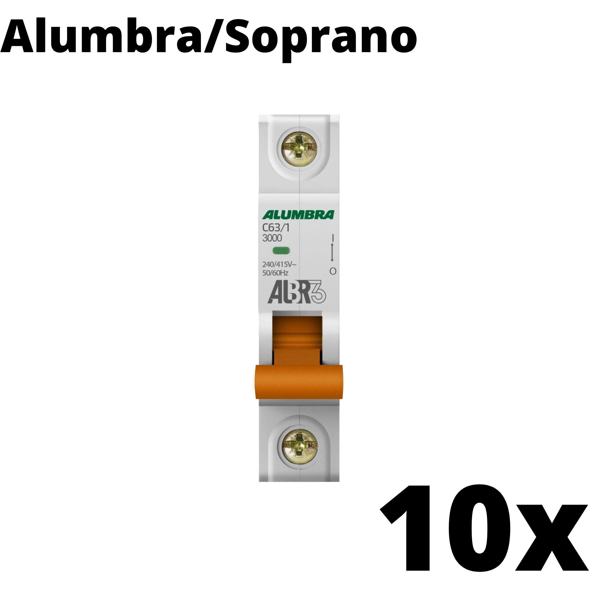Kit 10 und Disjuntor Din Mono 63A