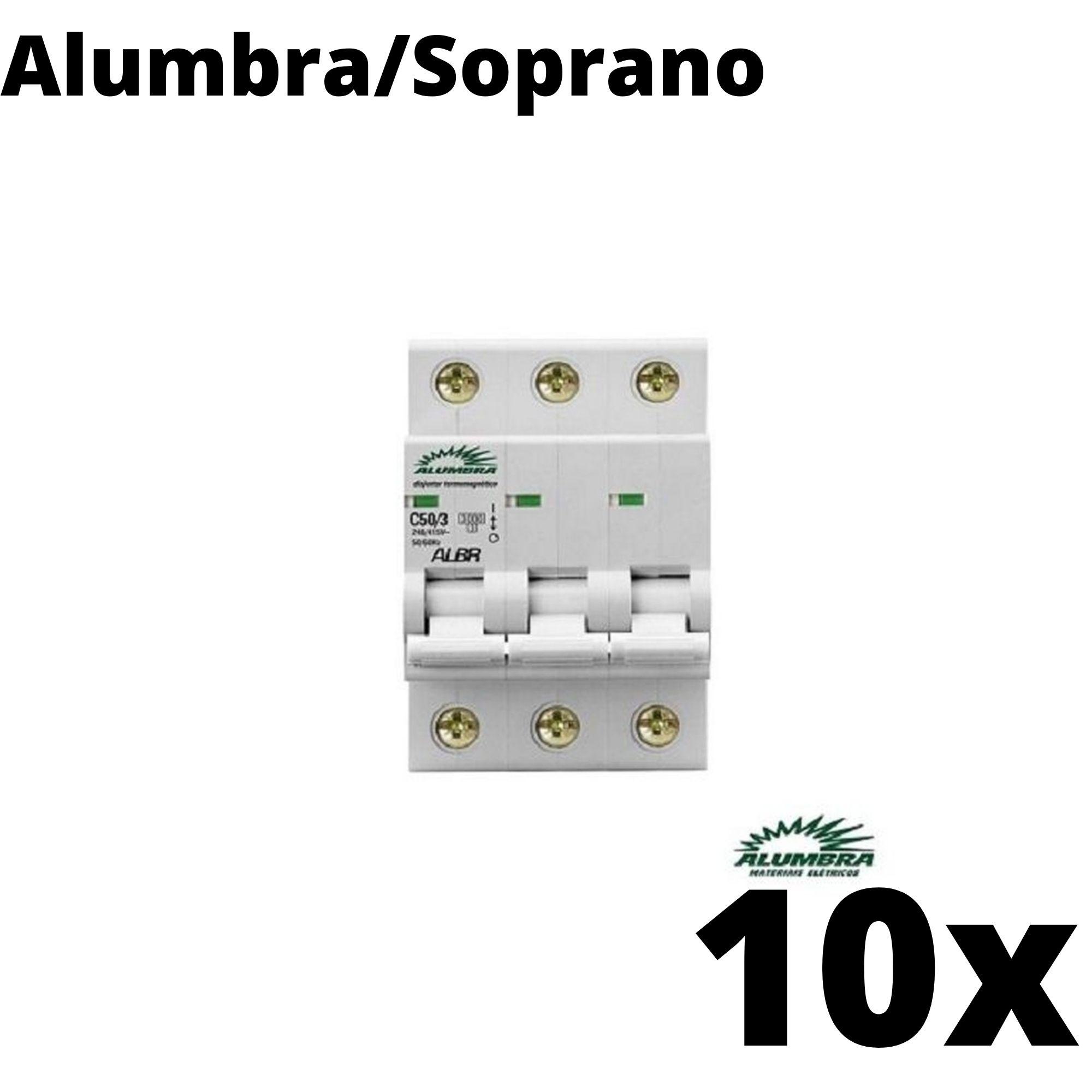 Kit 10 und Disjuntor Din Tripolar 50A