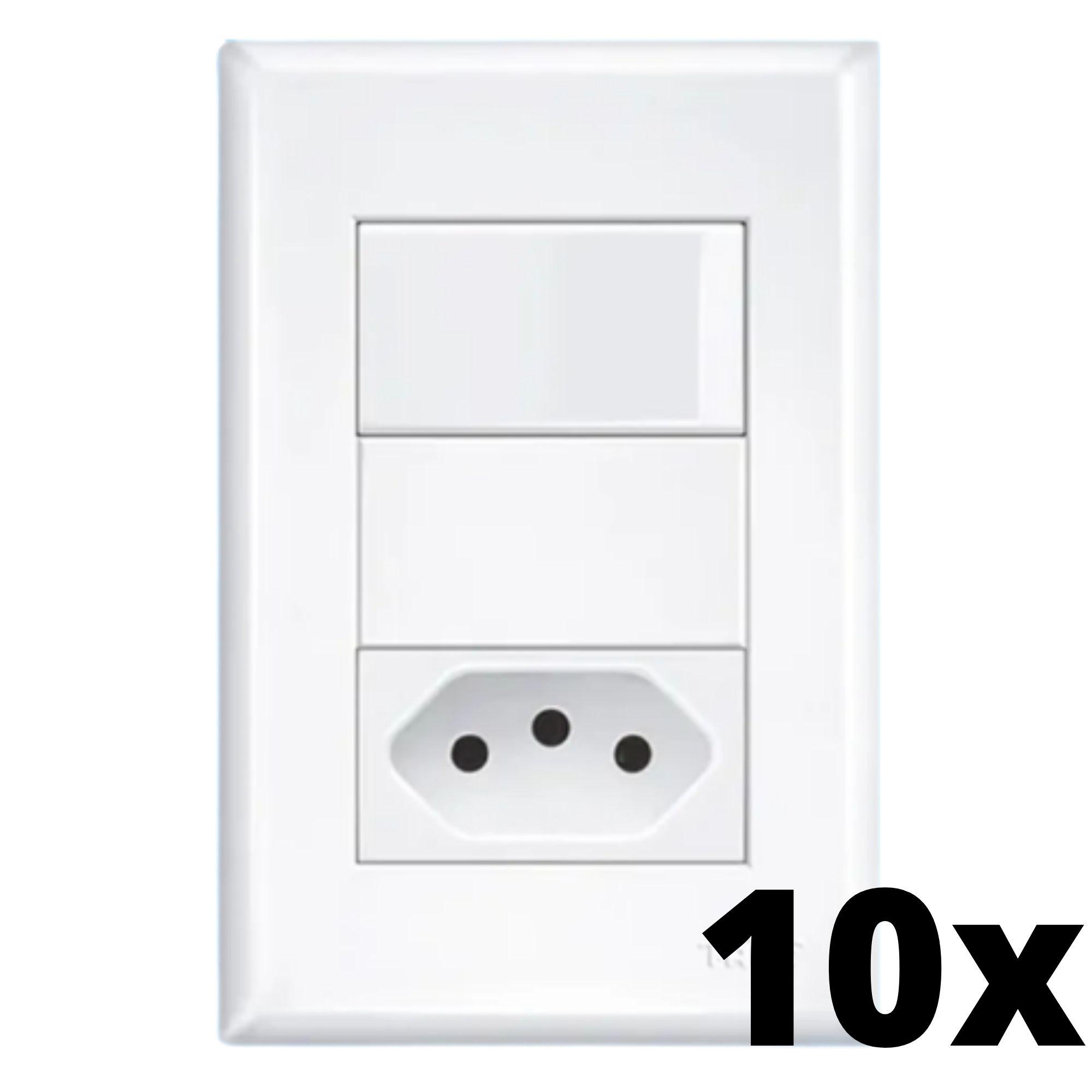 Kit 10 und Evidence 1Seção Interrupt Simples+ 1Seção Tomada 10A C Placa