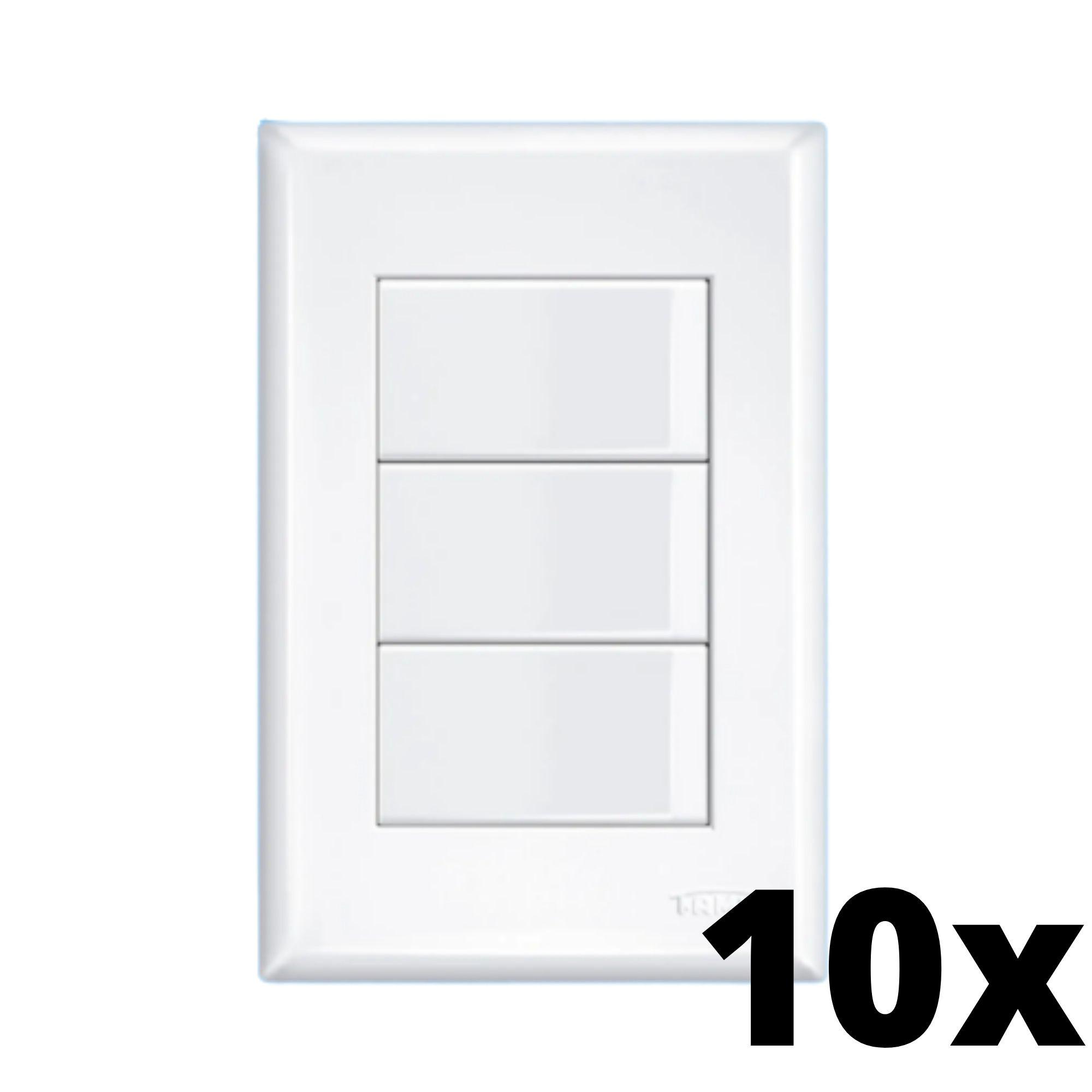 Kit 10 und Evidence 3 Seções de Interruptor Simples Com Placa