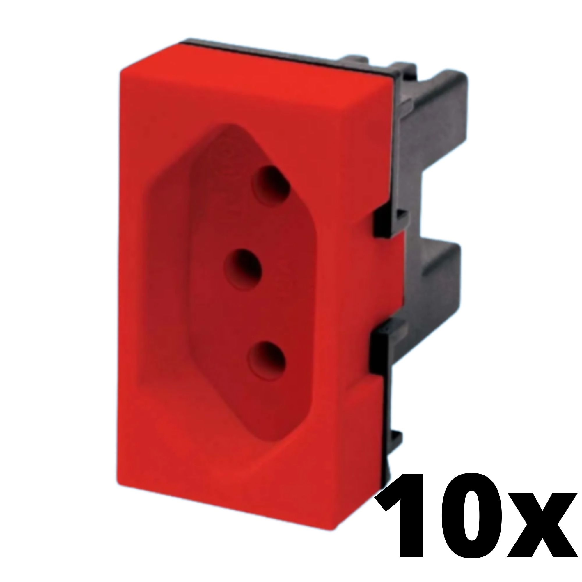 Kit 10 und Evidence Módulo de Tomada 20A Vermelha