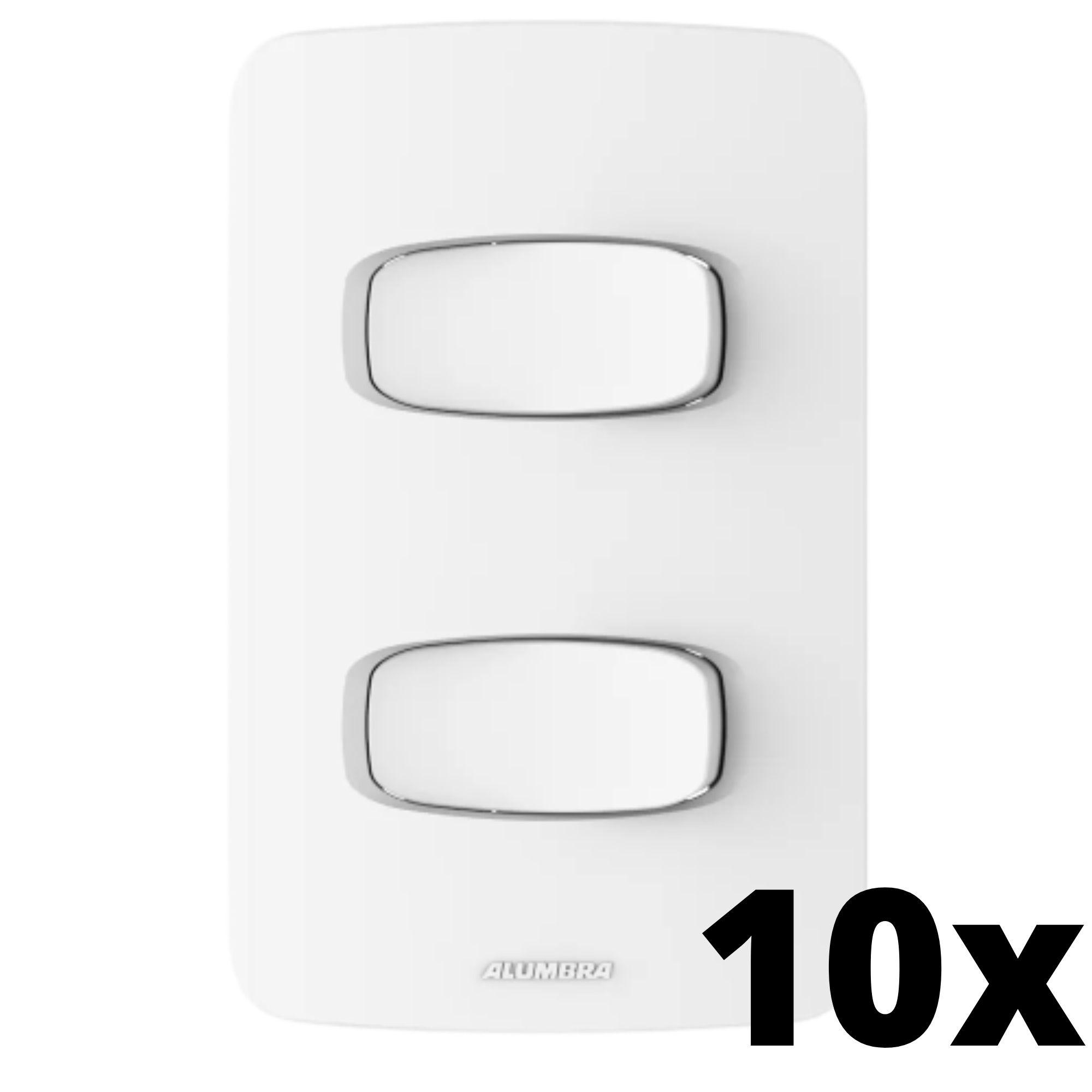 Kit 10 und Gracia 2 Seções de Interruptor Simples Com Placa
