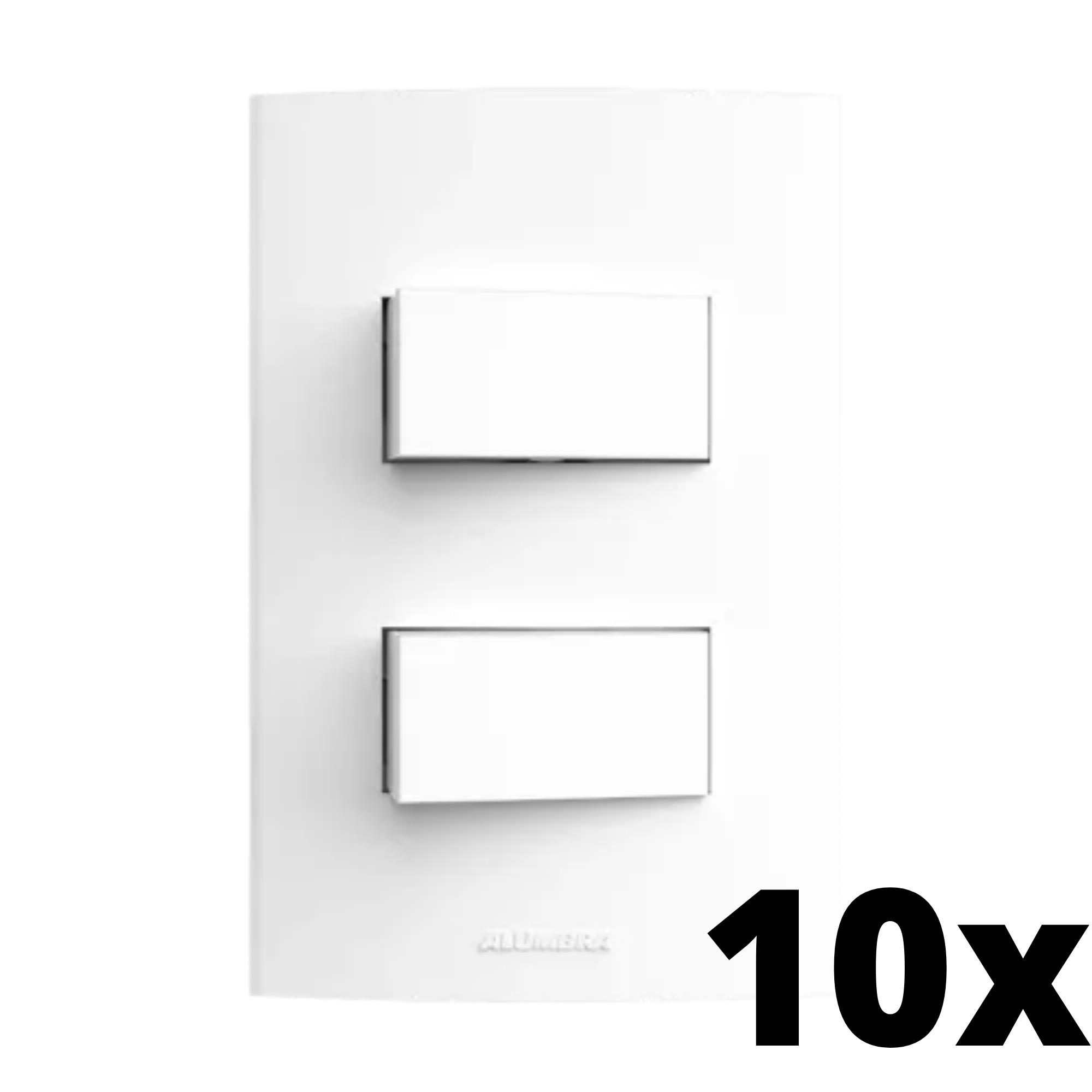 Kit 10 und Inova Pró 2 Seções de Interruptor Simples Com Placa