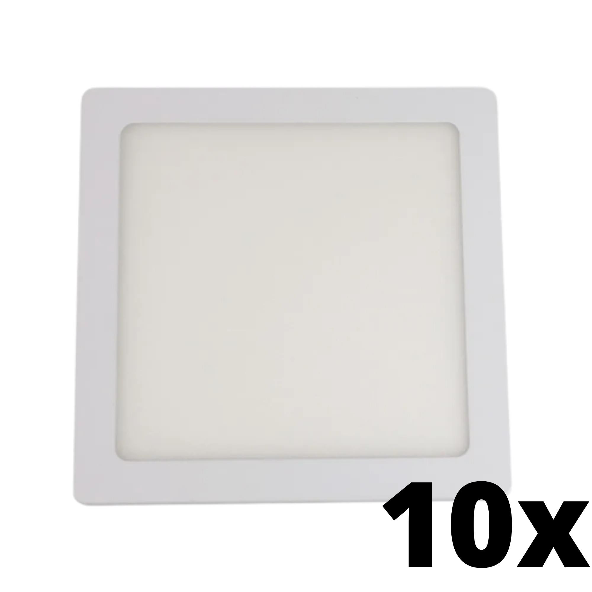 Kit 10 und Painel de Led Embutir 12w Quadrado 3000k