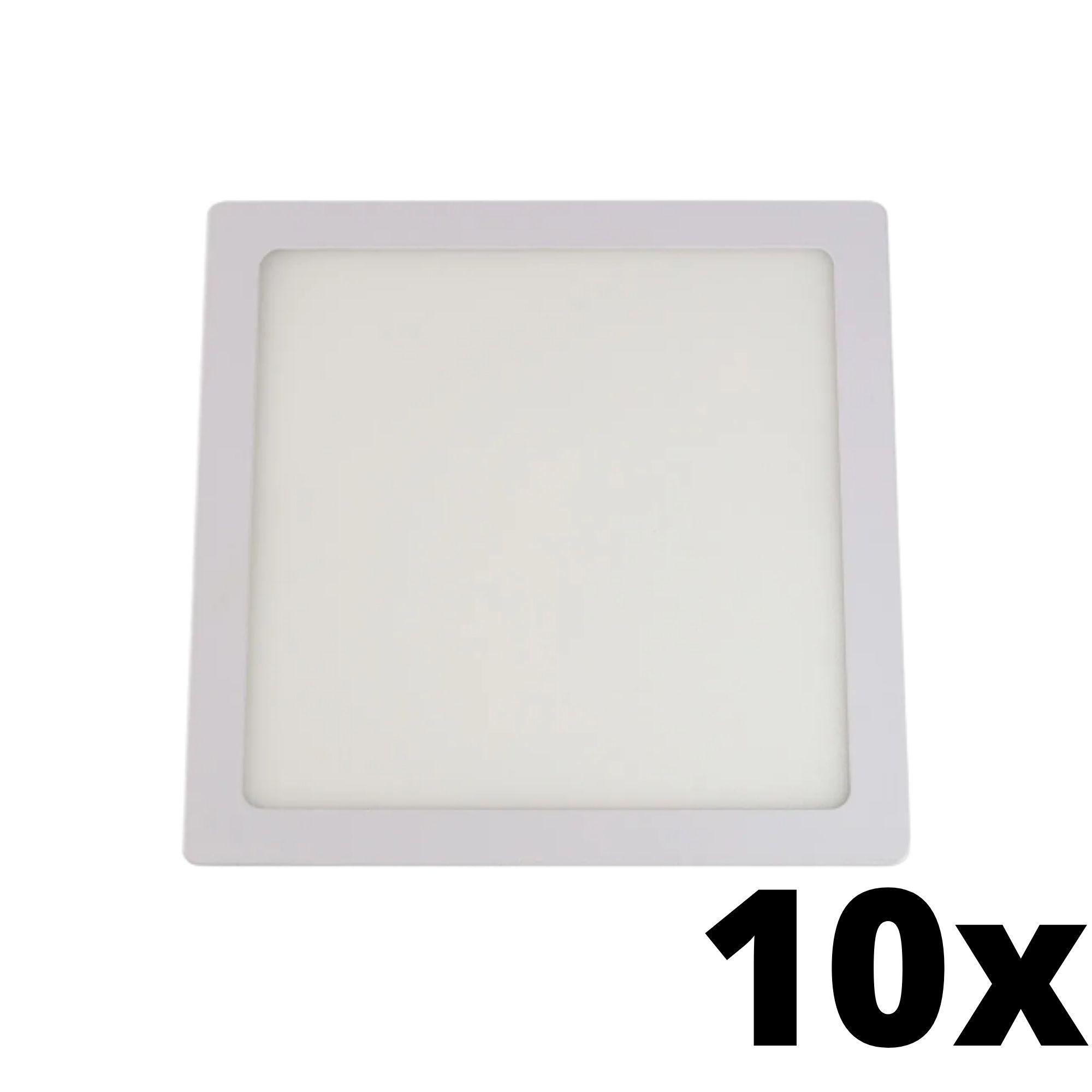 Kit 10 und Painel de Led Embutir 18w Quadrado 6500k