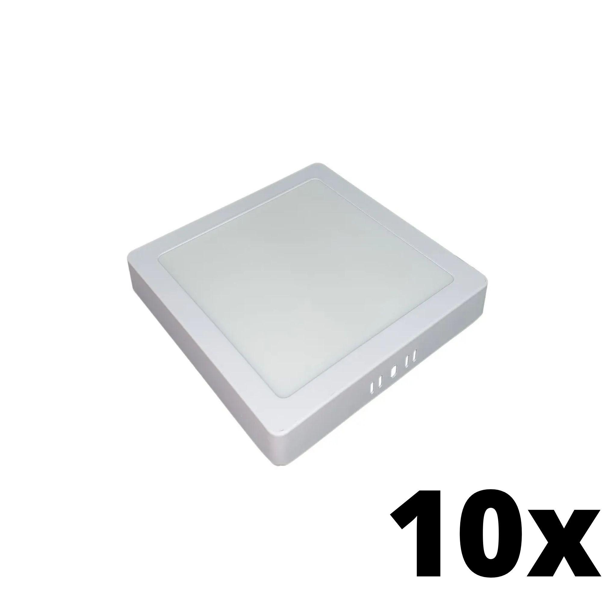 Kit 10 und Painel de Led Sobrepor 12w Quadrado 3000k