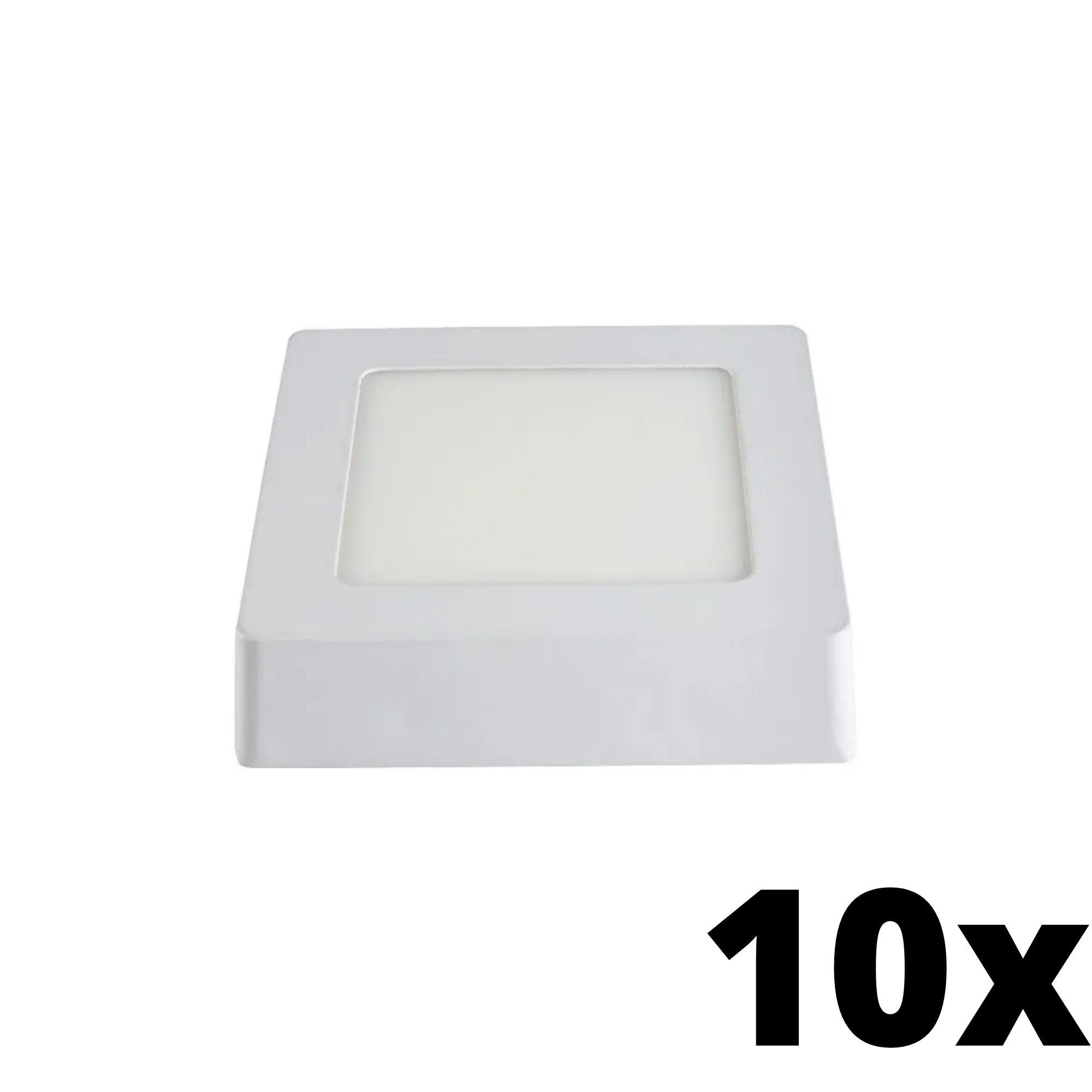 Kit  10 und Painel de Led Sobrepor 6w Quadrado 6500k