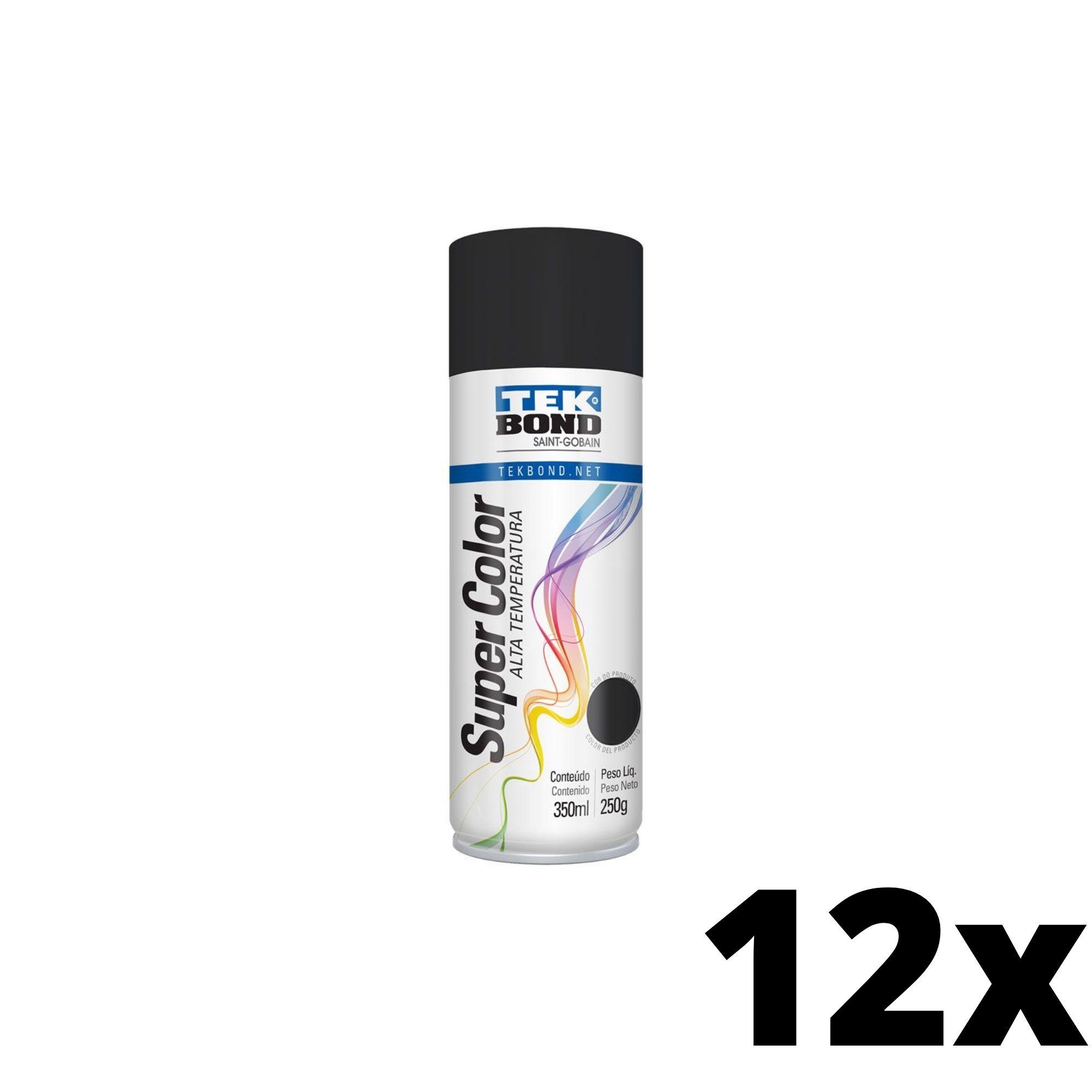 Kit 12 und Tinta Spray Alta Temperatura Preto Fosco