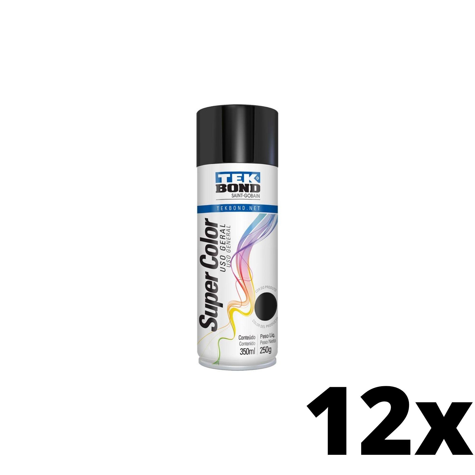 Kit 12 und Tinta Spray Preto Brilhante