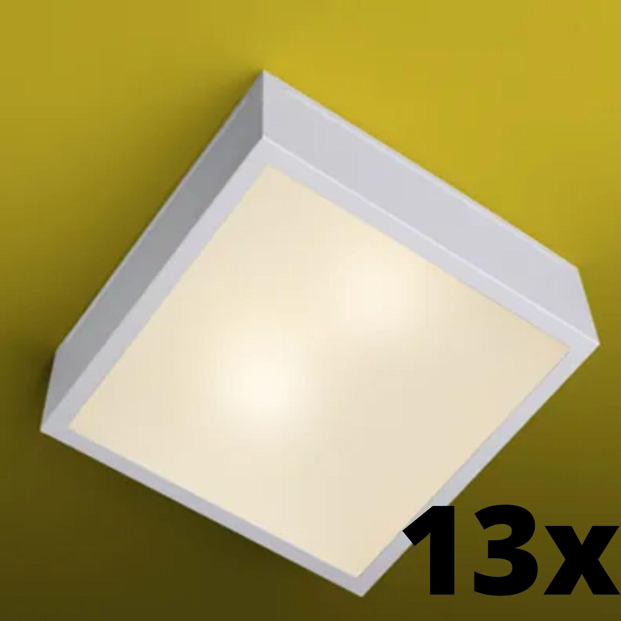 Kit 13 und Ideal Plafon Quadrado Branco em Alumínio 660 2 Lâmpadas E-27