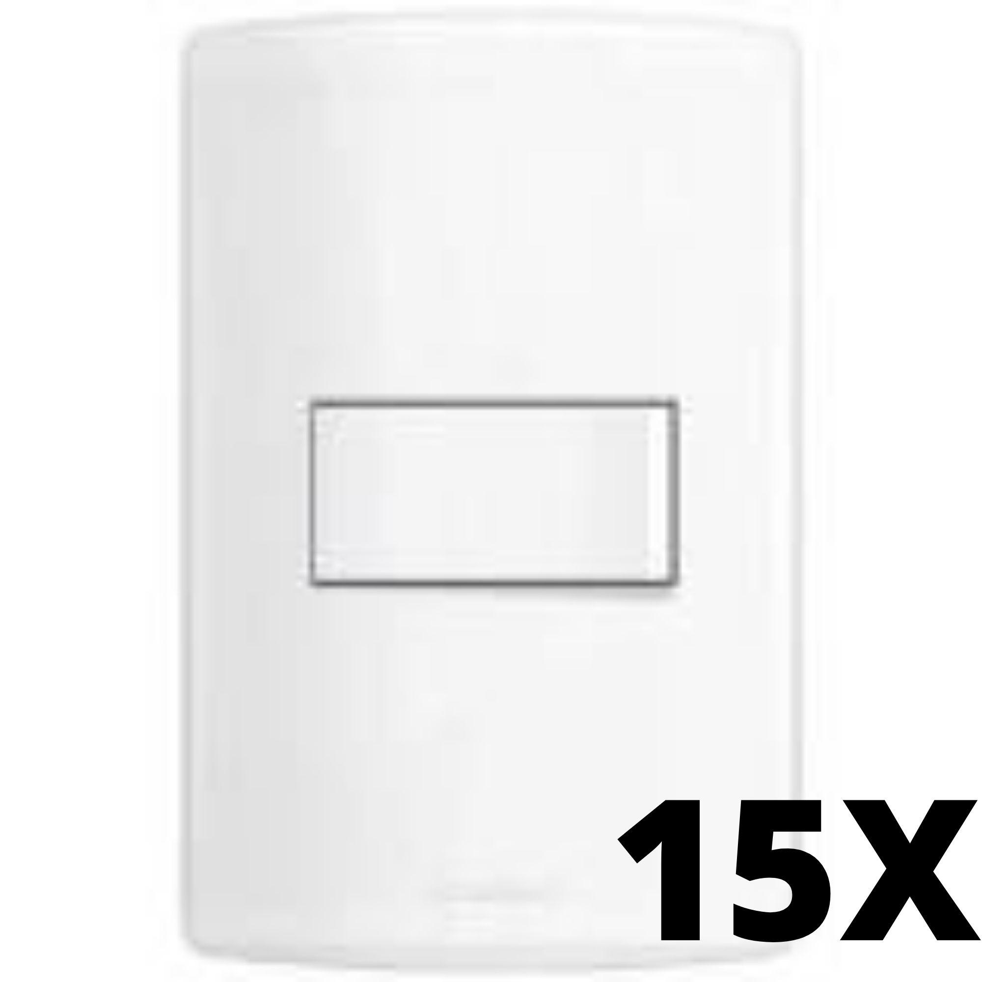 Kit 15 und Alumbra Bianco Pró 1 Seção de Interruptor Simples Com Placa