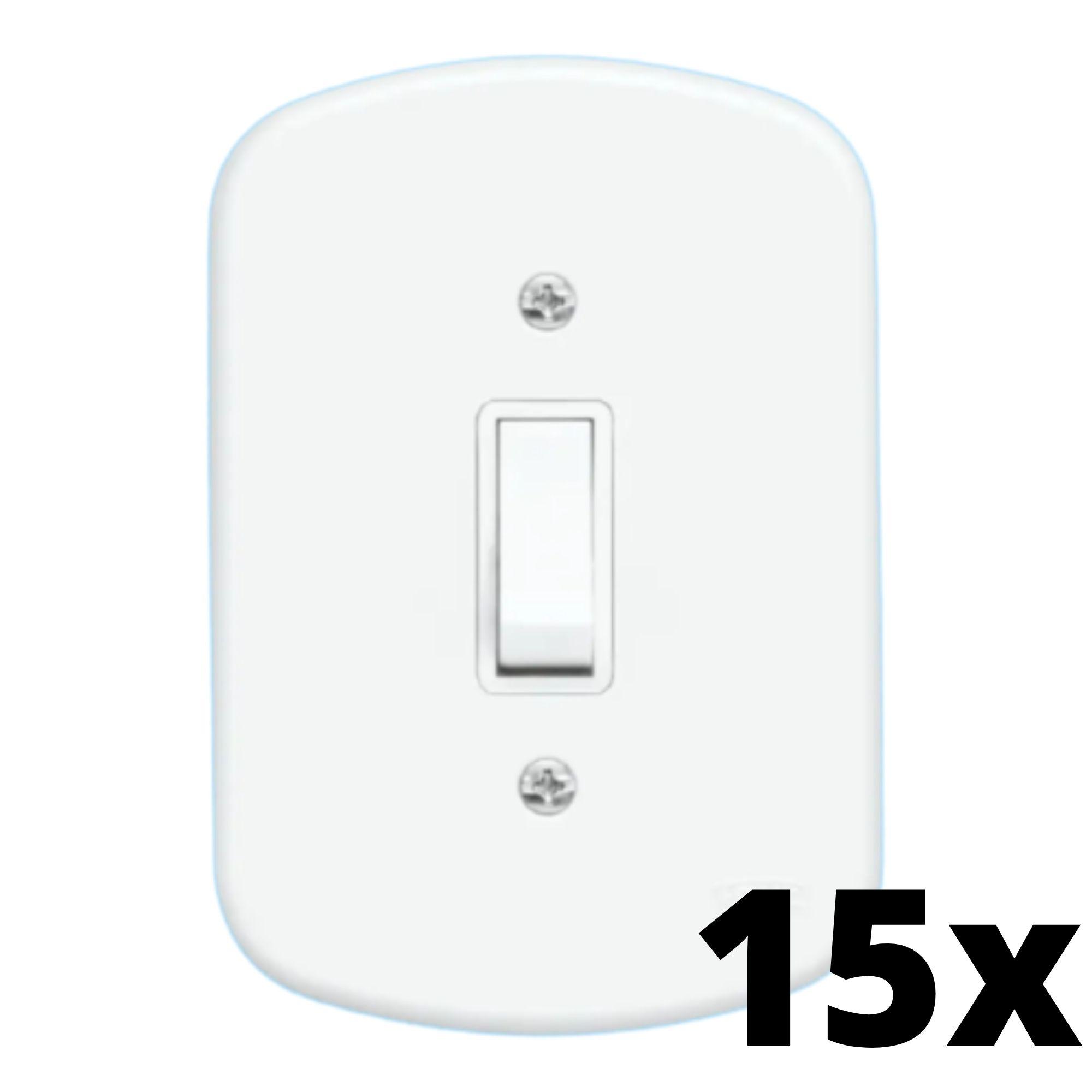 Kit 15 und Blanc 1 Seção de Interruptor Simples Com Placa