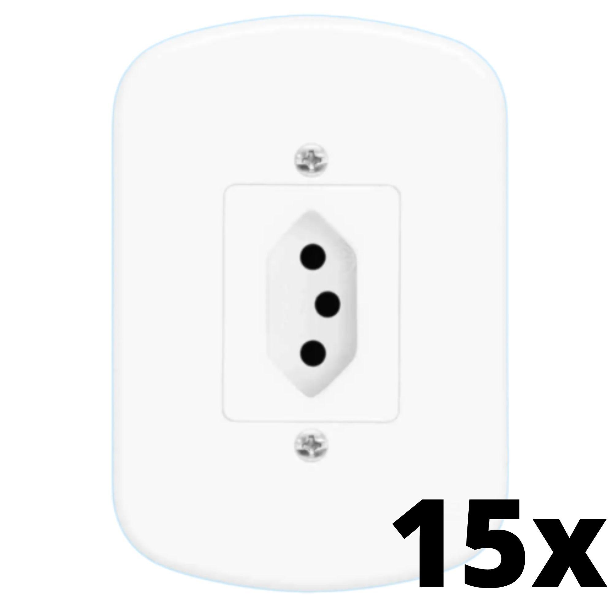 Kit 15 und  Blanc 1 Seção de Tomada 10A Com Placa