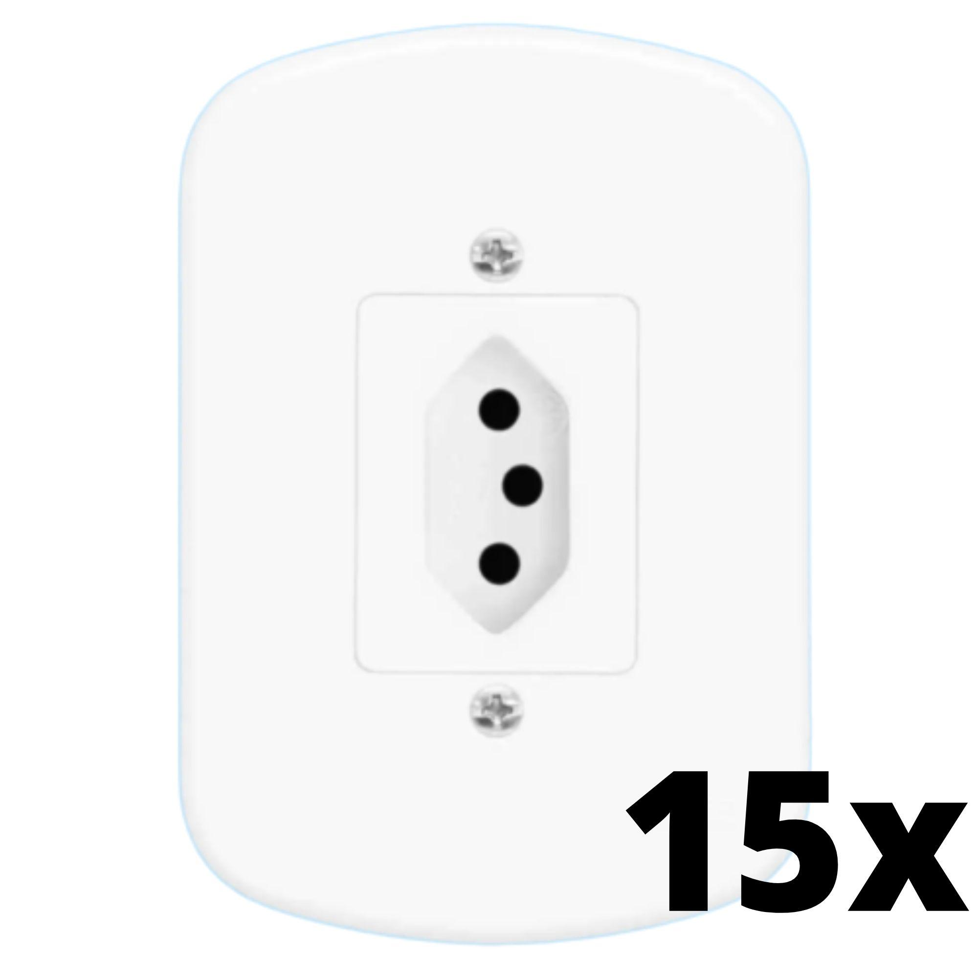 Kit 15 und Blanc 1 Seção de Tomada 20A Com Placa