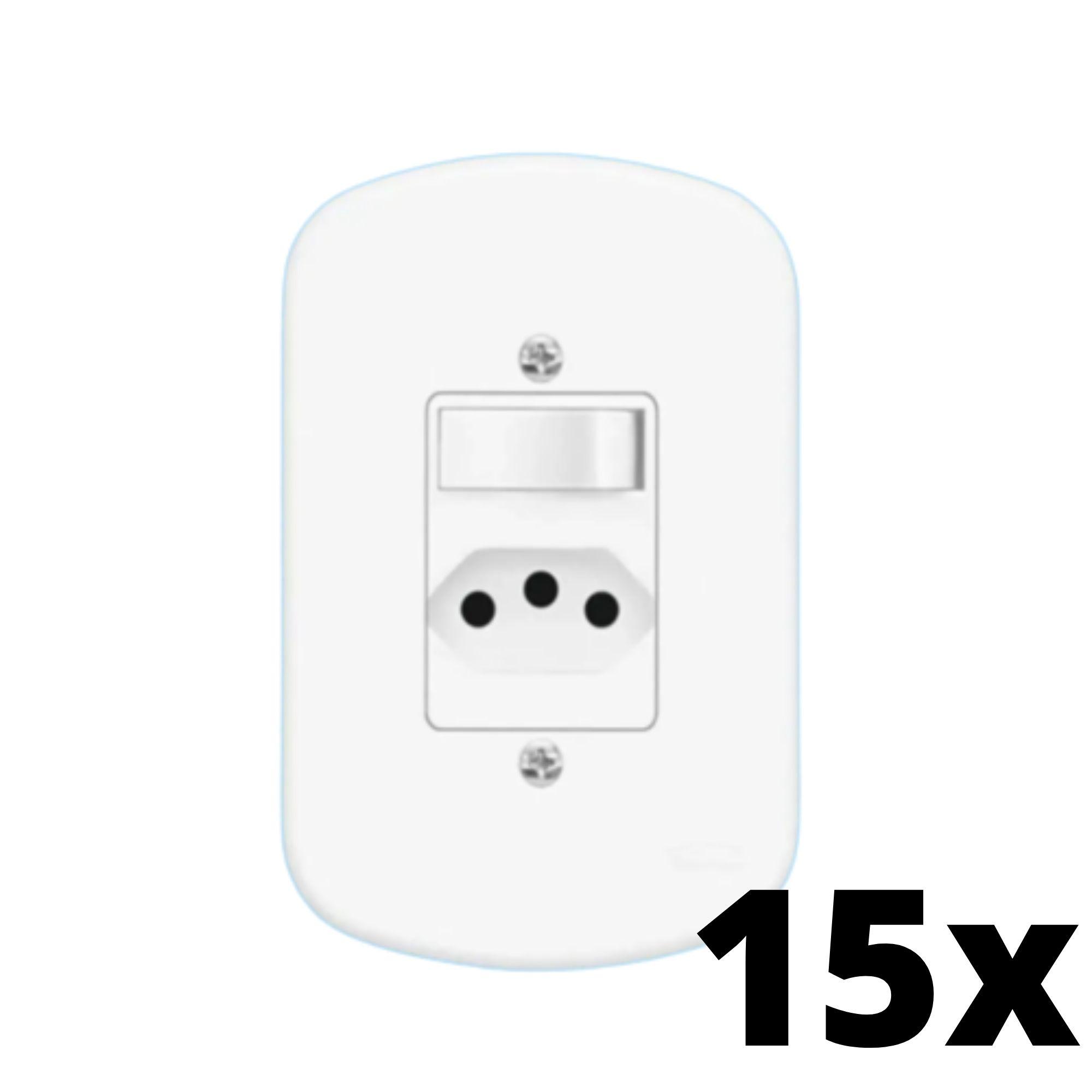 Kit 15 und Blanc 1Seção Interruptor Simples + 1Seção Tomada 10A C Placa