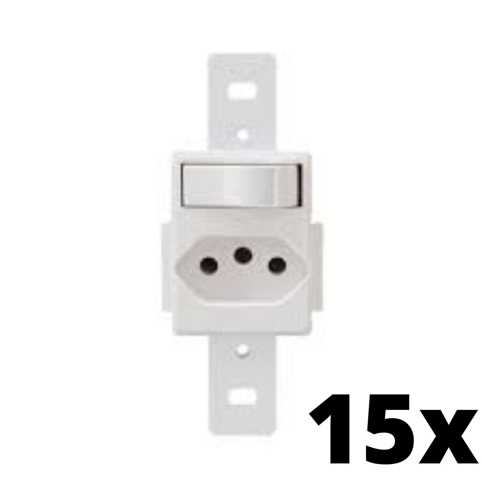 Kit 15 und Blanc 1Seção Interruptor Simples+1Seção Tomada 10A Sem Placa