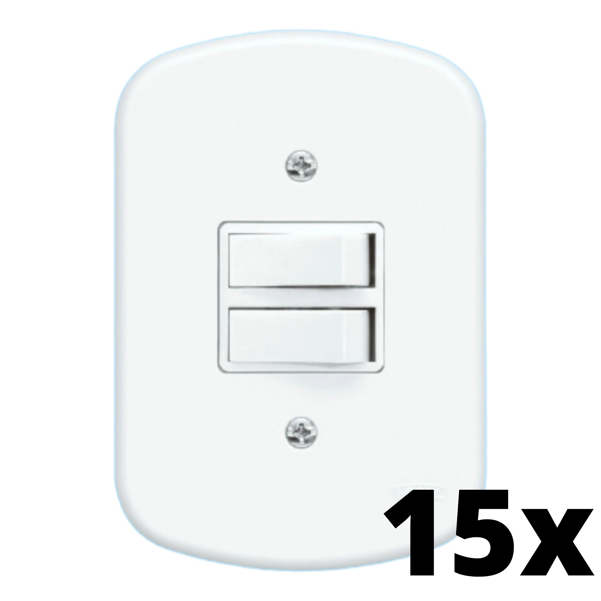 Kit 15 und Blanc 2 Seções de Interruptor Paralelo Com Placa