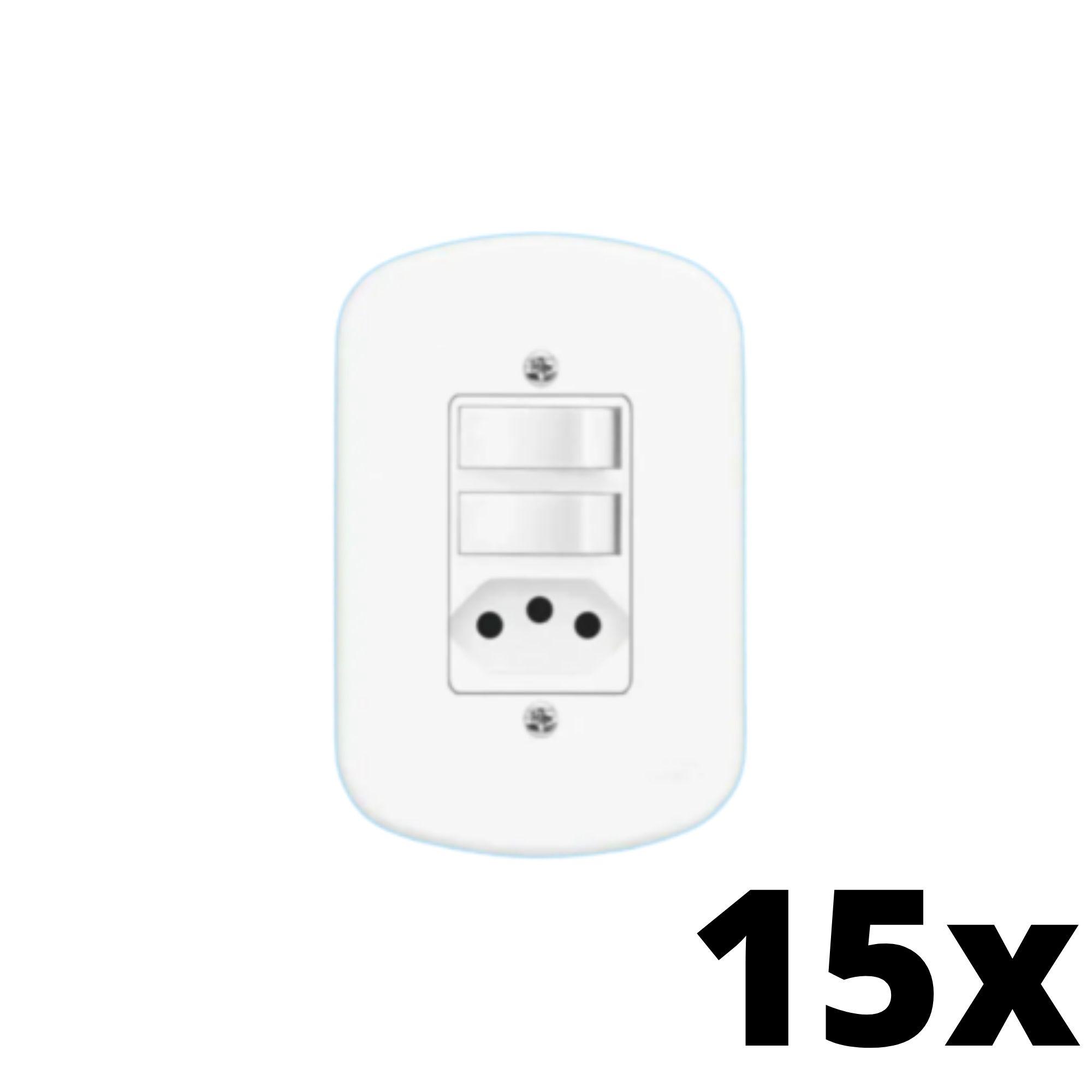 Kit 15 und  Blanc 2Seções Interruptor Simples+ 1Seção Tomada 10A C Placa